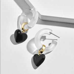 Baublebar Neve Lucite Heart Hoop Earrings Like New